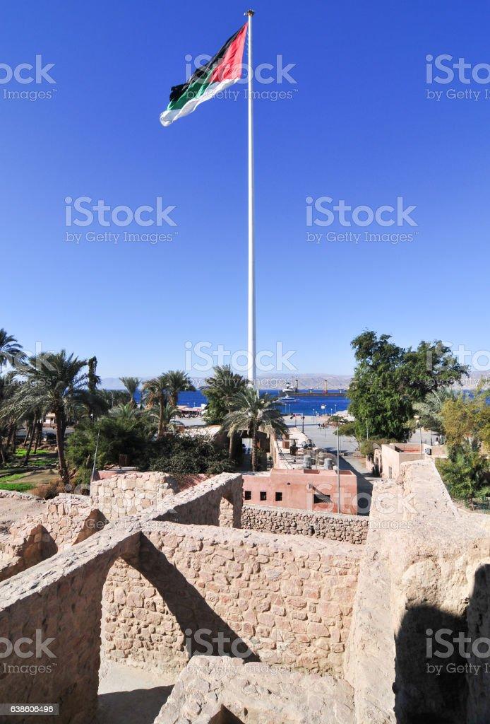 Aqaba Fort in Aqaba, South Jordan stock photo