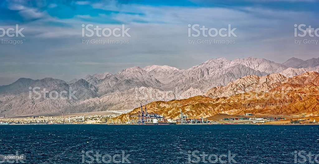 Aqaba waterfront and Aqaba sea port, Jordan. stock photo