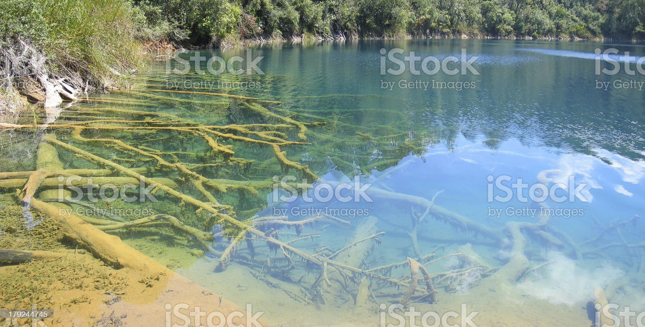 Aqua Azul, Lagunas de Montebello, Mexico, Panorama royalty-free stock photo