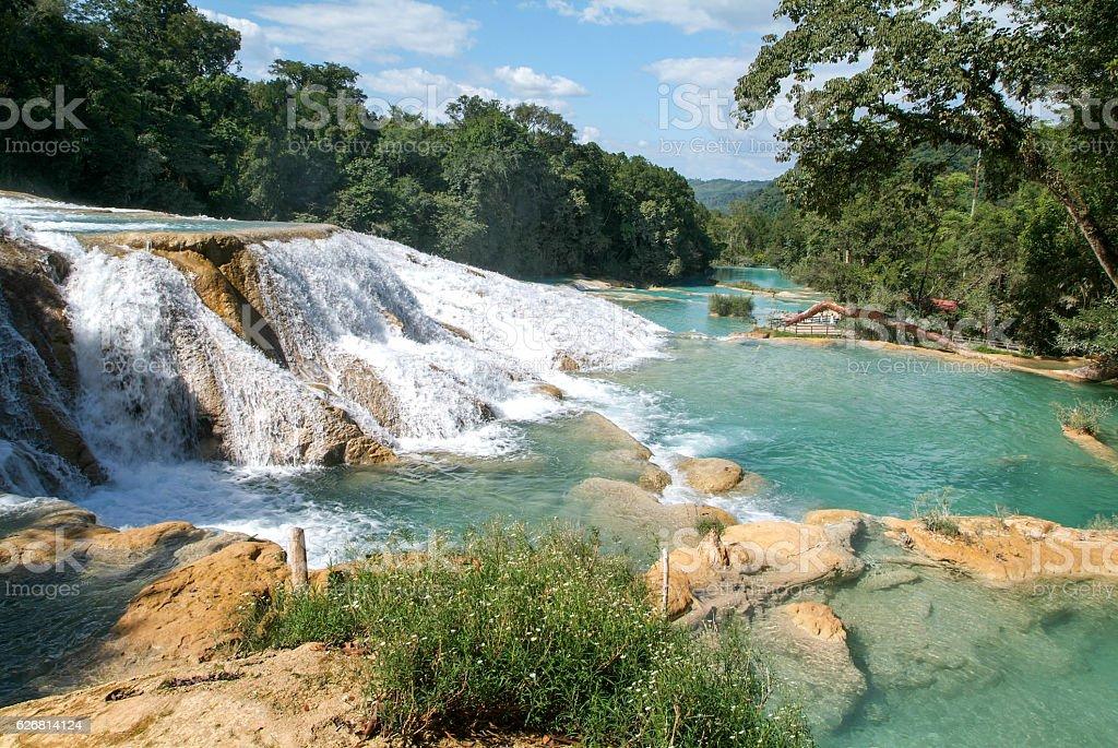 Aqua Azul waterfall on Chiapas stock photo
