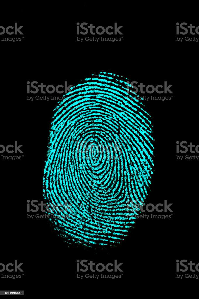 Aqua Blue Fingerprint on Black stock photo