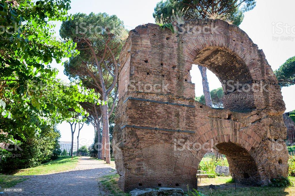 Aqua Claudia at the Roman Forum in Rome, Italy stock photo