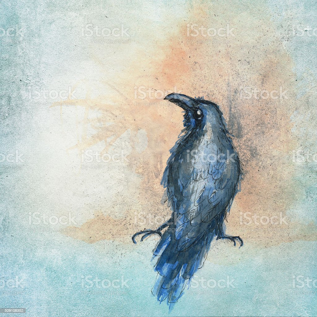 aqua color painting of a black crow stock photo