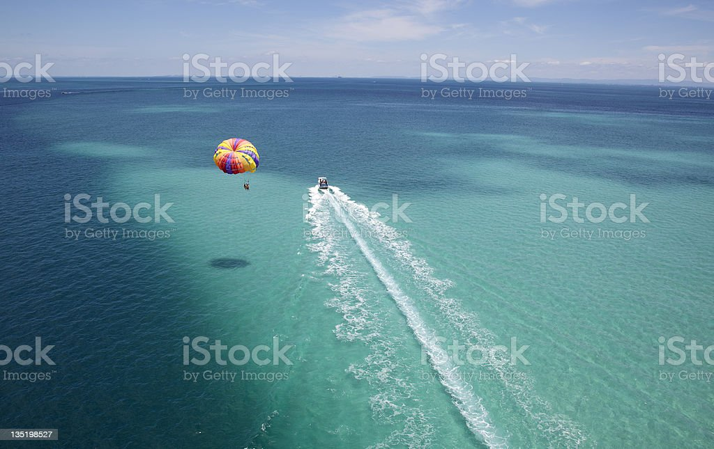 aqua parasailing stock photo