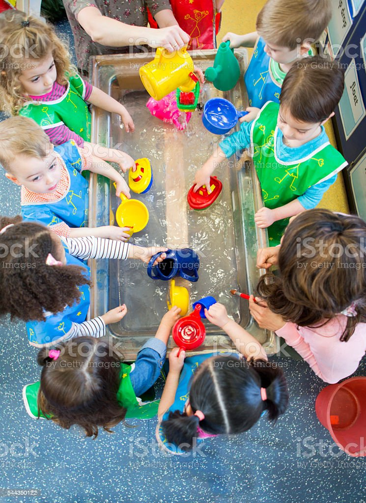 Aqua Play at Nursery stock photo