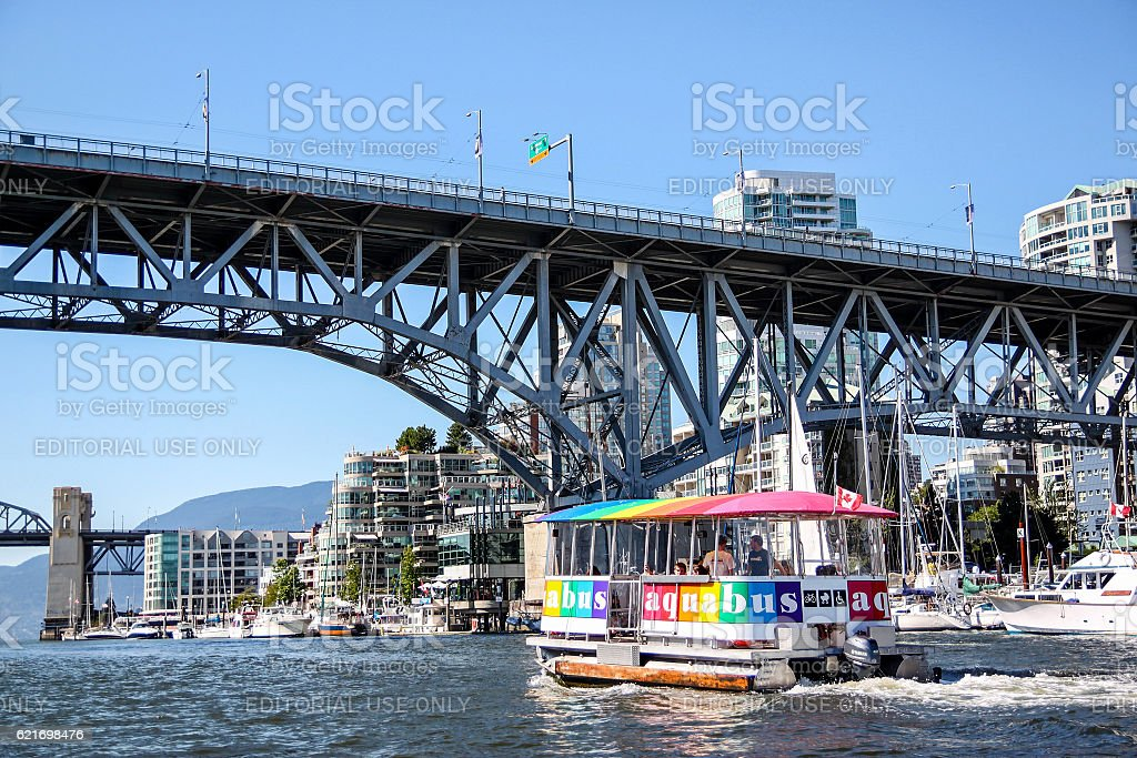 Aquabus Ferry Approaches Granville Island Bridge stock photo