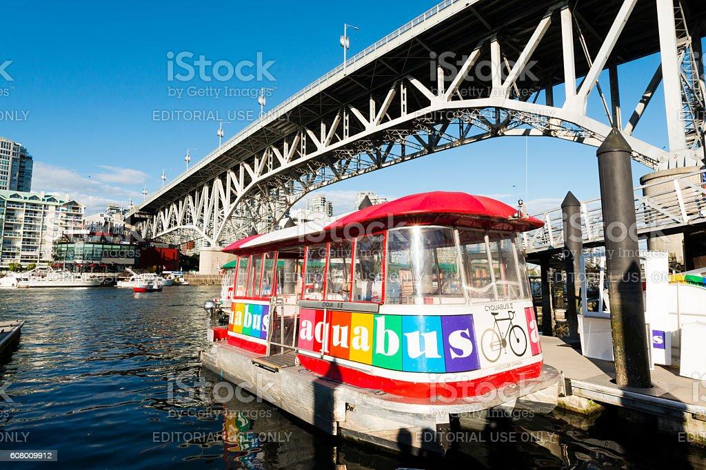 Aquabus Ferry in False Creek Bay Granville Island Vancouver Canada stock photo