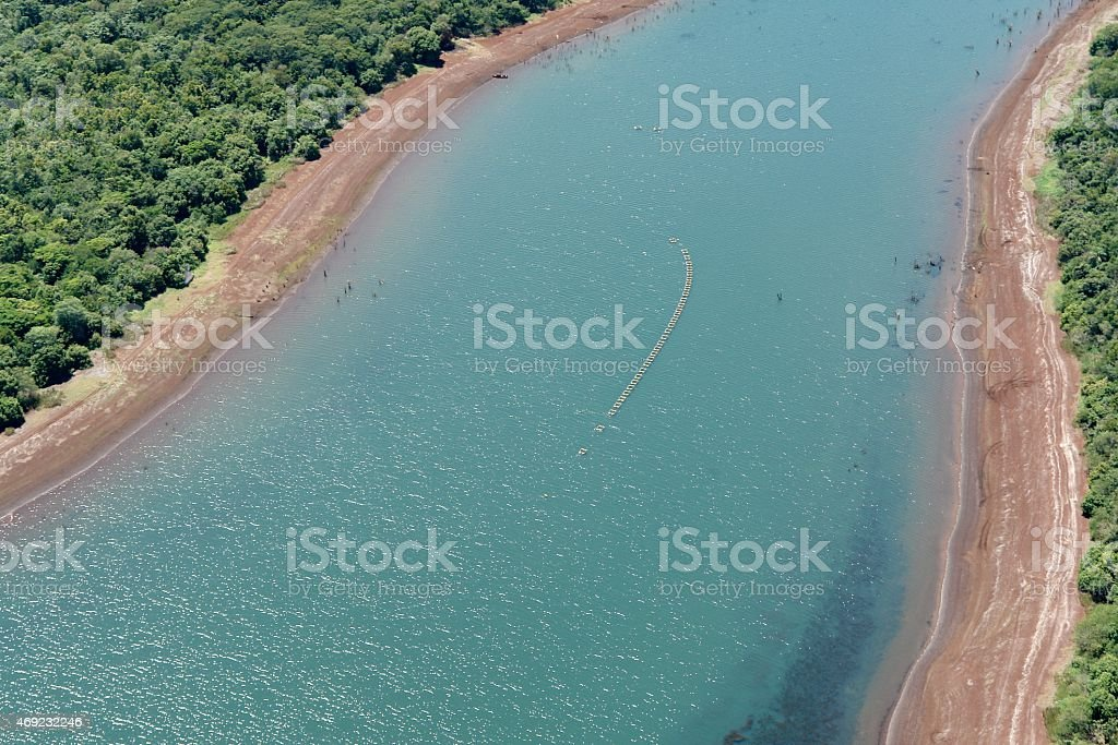 Aquaculture: farming of fish in river water unpolluted stock photo