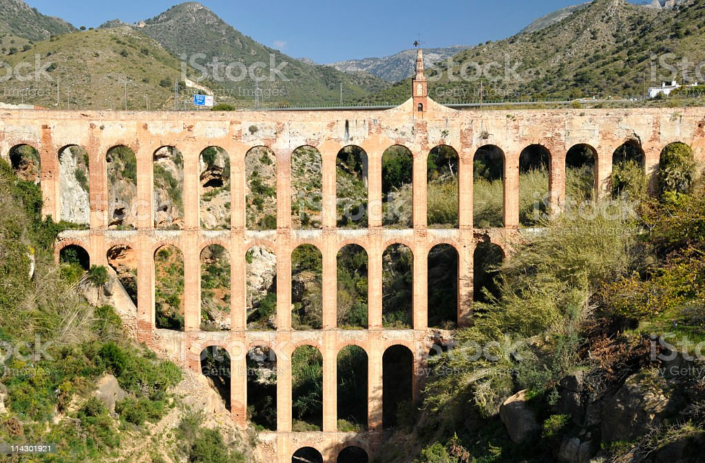 Aquaduct in Nerja,Andalucia,Spain stock photo