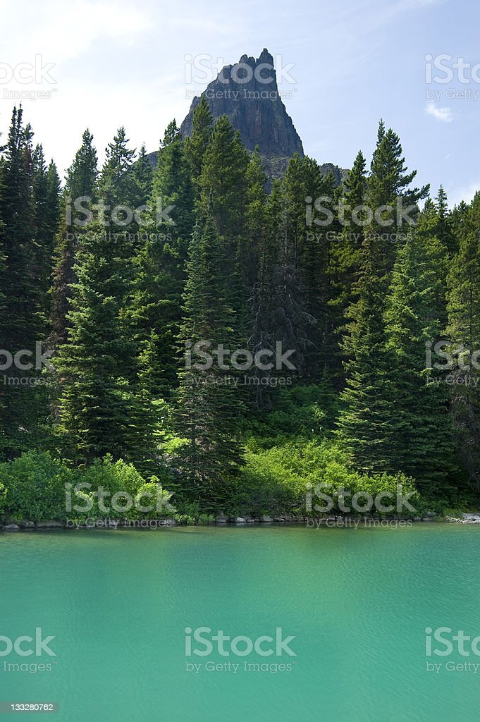 Aquamaraine Blue Glacial Lake in Glacier National Park royalty-free stock photo