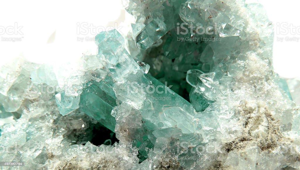 aquamarine geode geological crystals stock photo