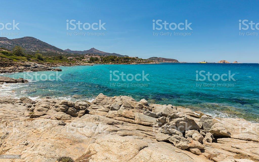 Aquamarine sea and rocks at Cala d'Olivu in Corsica stock photo