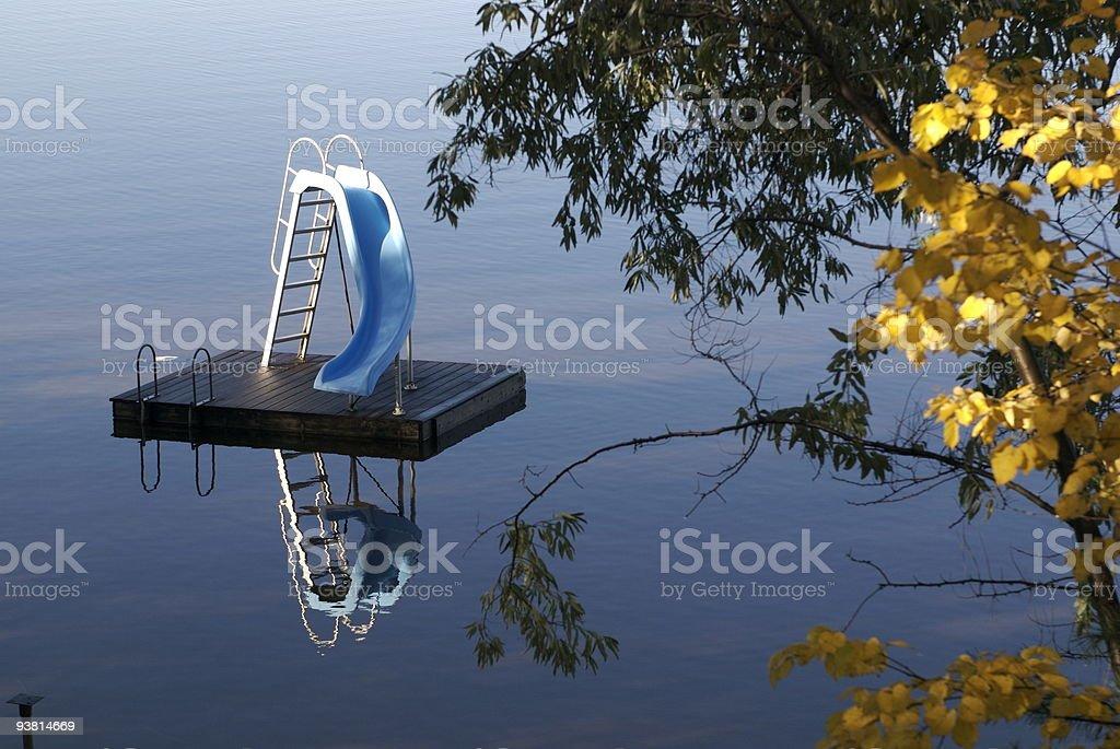 Aquamarine water slide stock photo