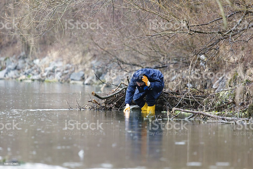 aquatic test after chemical accident stock photo