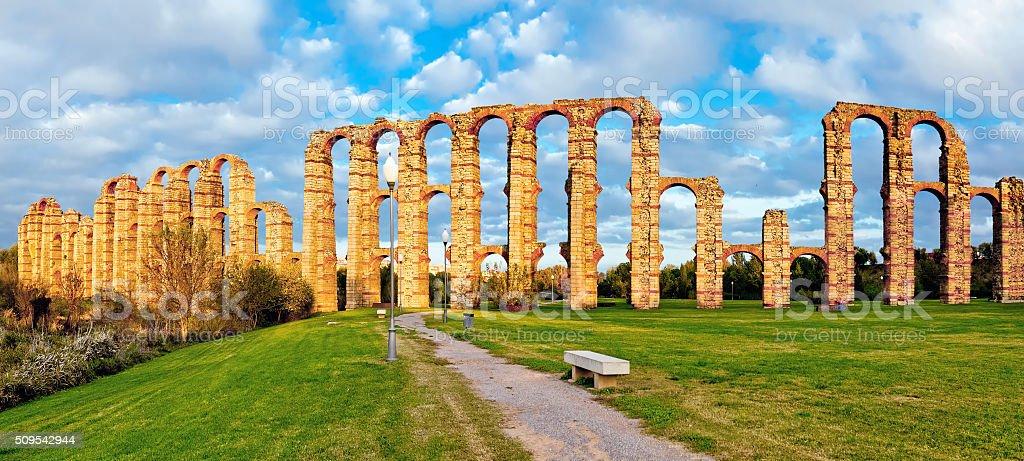 Aqueduct Los Milagros, Merida, Spain stock photo