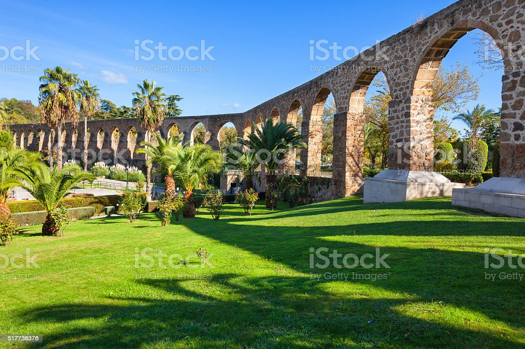 Aqueduct of San Anton in Plasencia, Spain stock photo