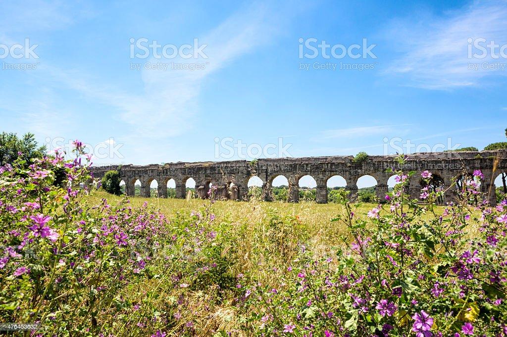 Aqueduct Park- Aqua Claudia, Rome Italy stock photo