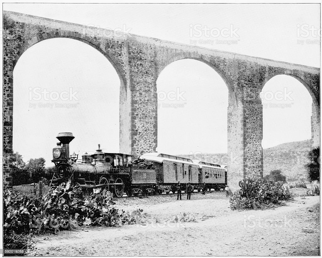 Aqueduct, Queretaro, Mexico in 1880s stock photo