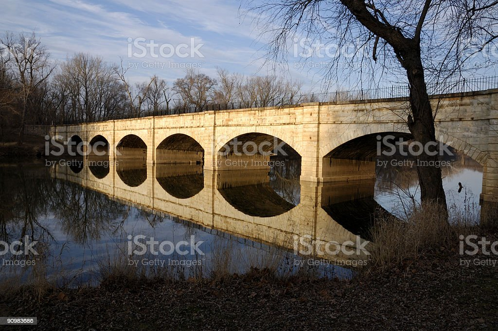Aqueduct Refletion in River stock photo