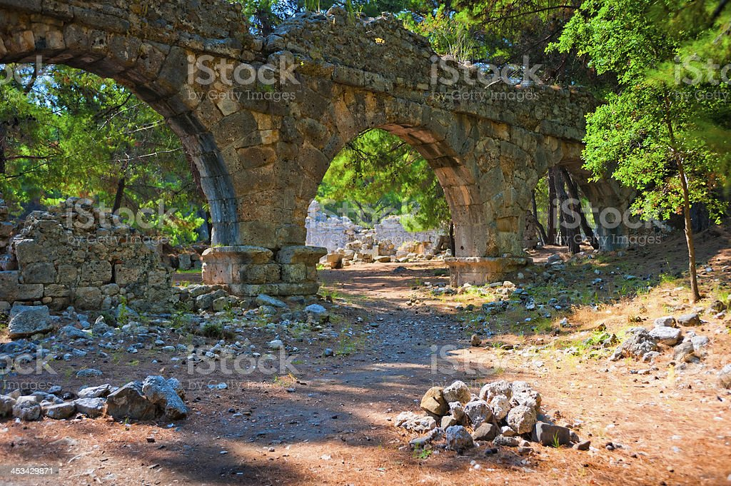 Aqueduct ruins in the ancient city of Phaselis stock photo