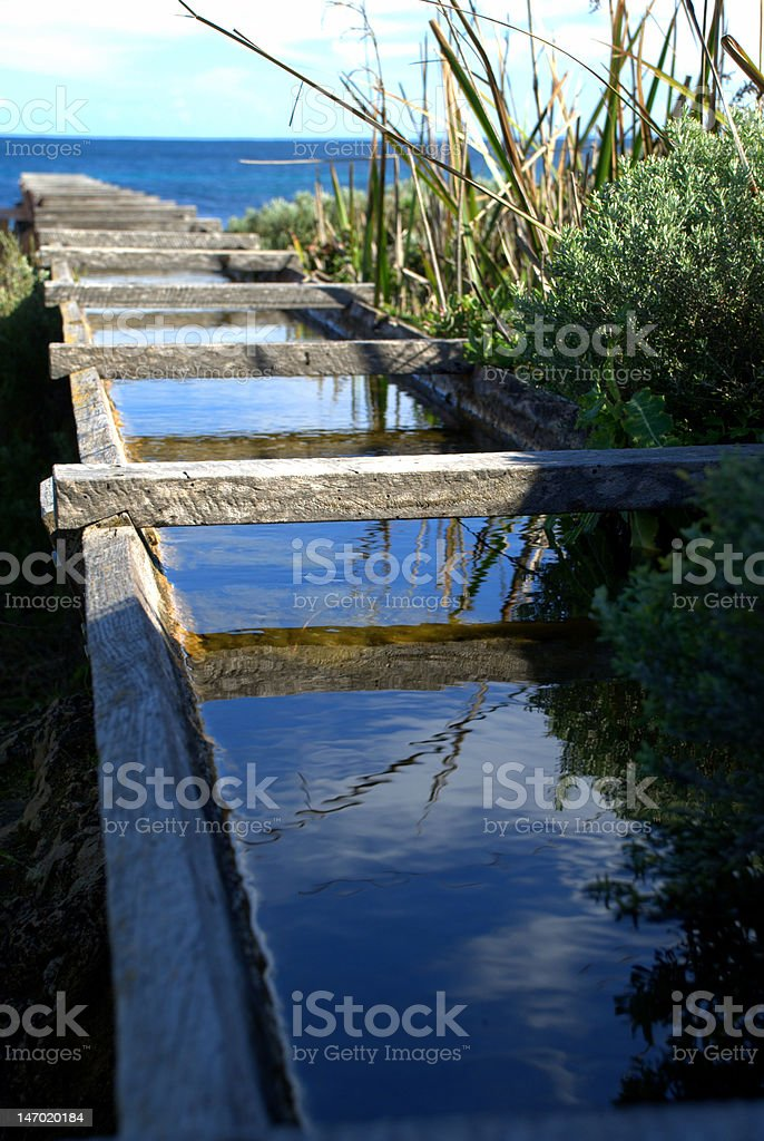 Aqueduct with reflecting water royalty-free stock photo
