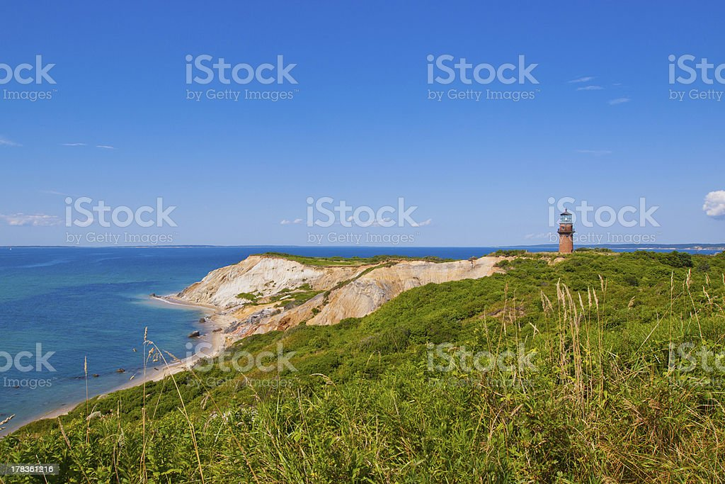Aquinnah (Gay Head) Cliffs Lighthouse stock photo