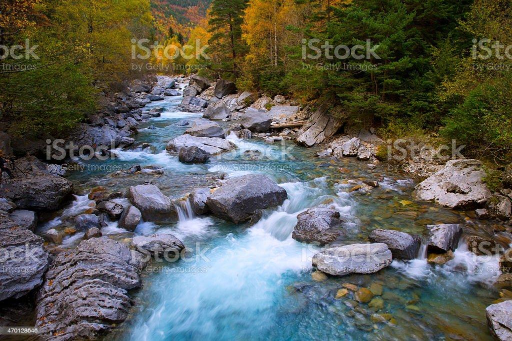 Ara river Bujaruelo in Valle de Ordesa valley Pyrenees Huesca stock photo