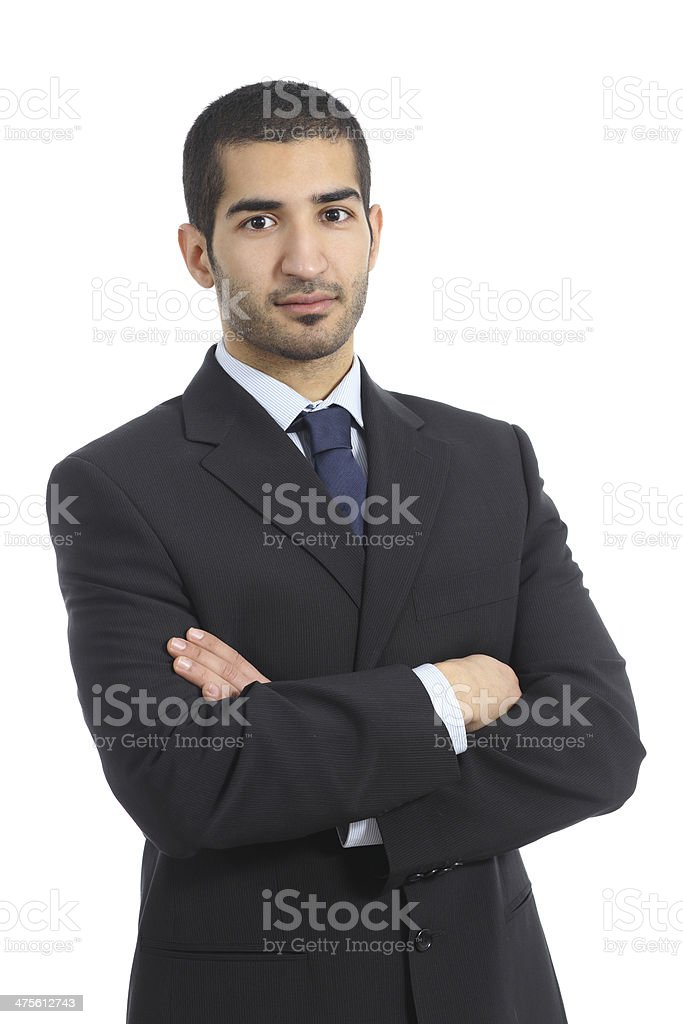 Arab business confident man posing with folded arms stock photo