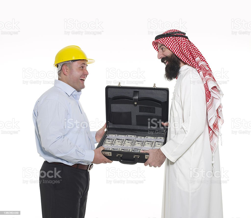 Arab Businessman And Engineer Making Deal royalty-free stock photo