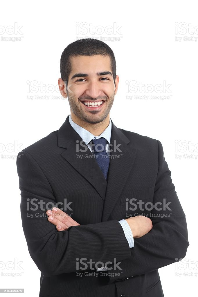 Arab businessman posing standing with folded arms stock photo