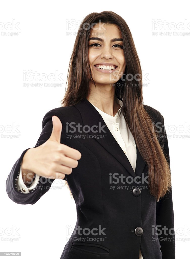 Arab businesswoman with thumbs up royalty-free stock photo