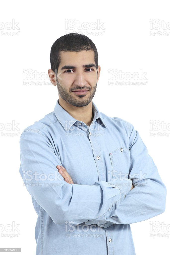 Arab casual man posing with folded arms stock photo