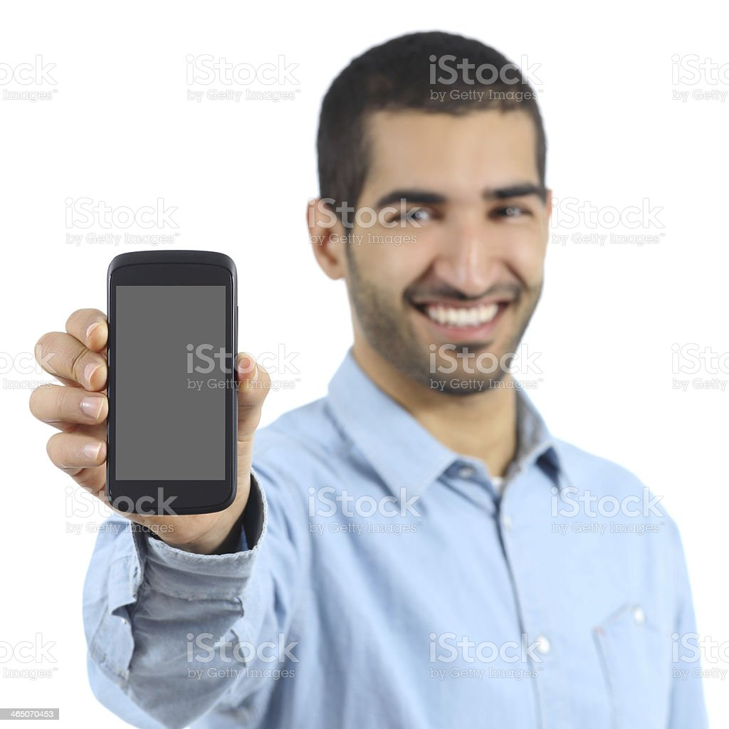 Arab casual man showing a mobile phone application stock photo