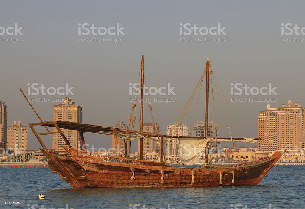 Arab dhow boat offshore in Qatar stock photo