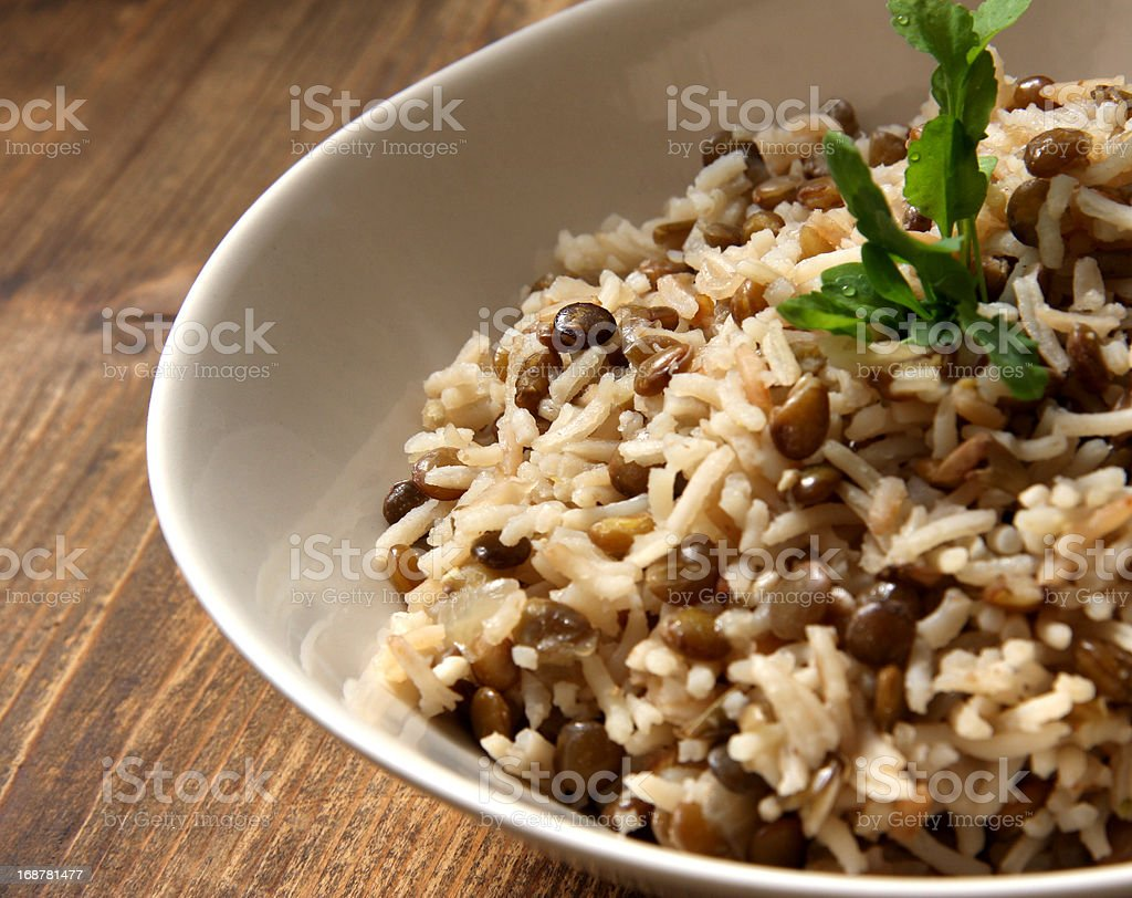 Arab dish Majadra: Green Lentils and Rice. stock photo