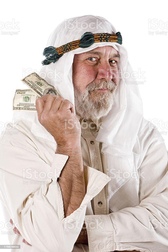 Arab Holding US Money royalty-free stock photo