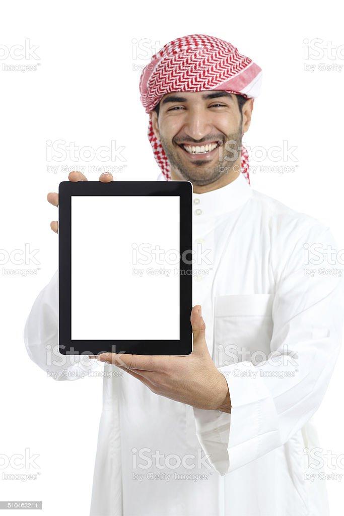 Arab man holding a blank tablet screen advice stock photo