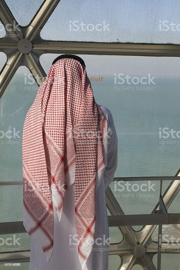 Arab man in Kuwait Towers stock photo