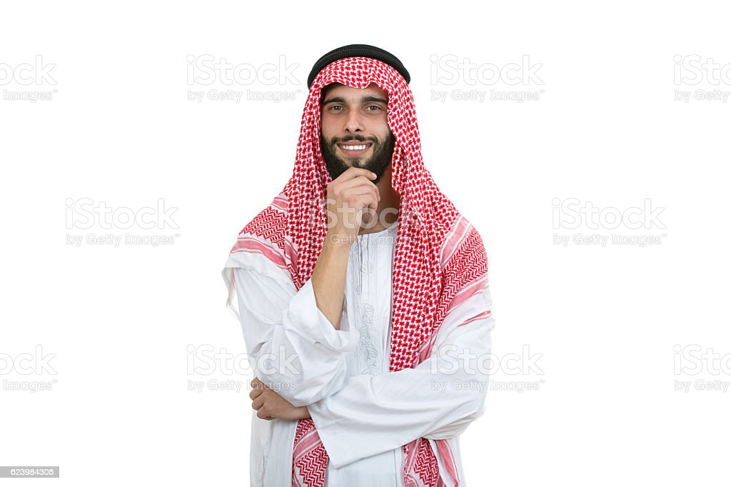 Arab man posing happy with folded arms isolated stock photo