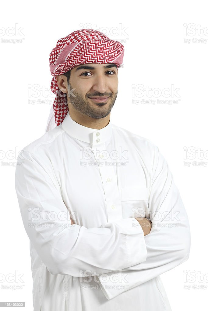 Arab man posing happy with folded arms stock photo