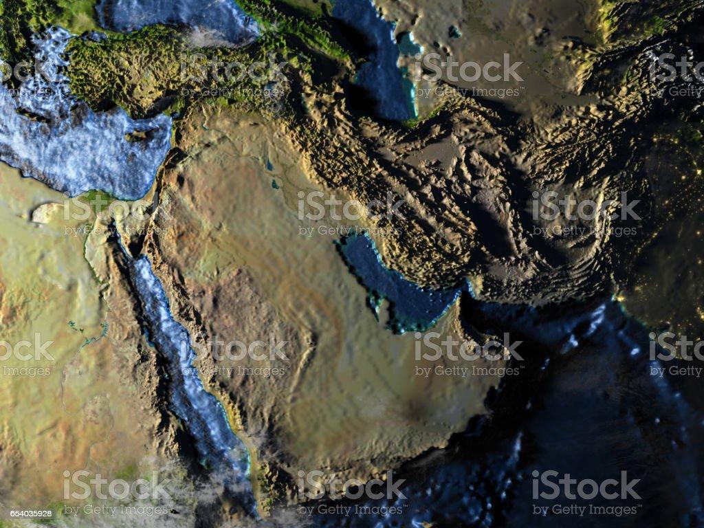 Arab Peninsula on Earth at night - visible ocean floor stock photo