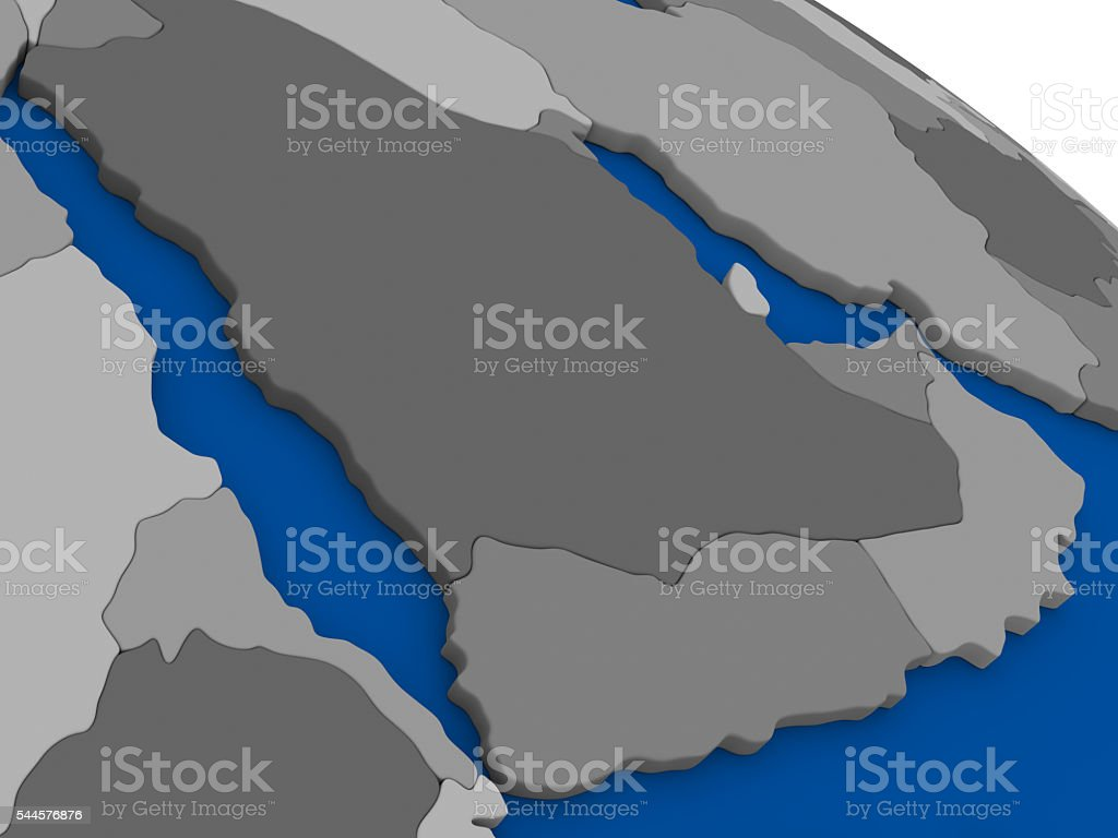 Arab peninsula on political map stock photo