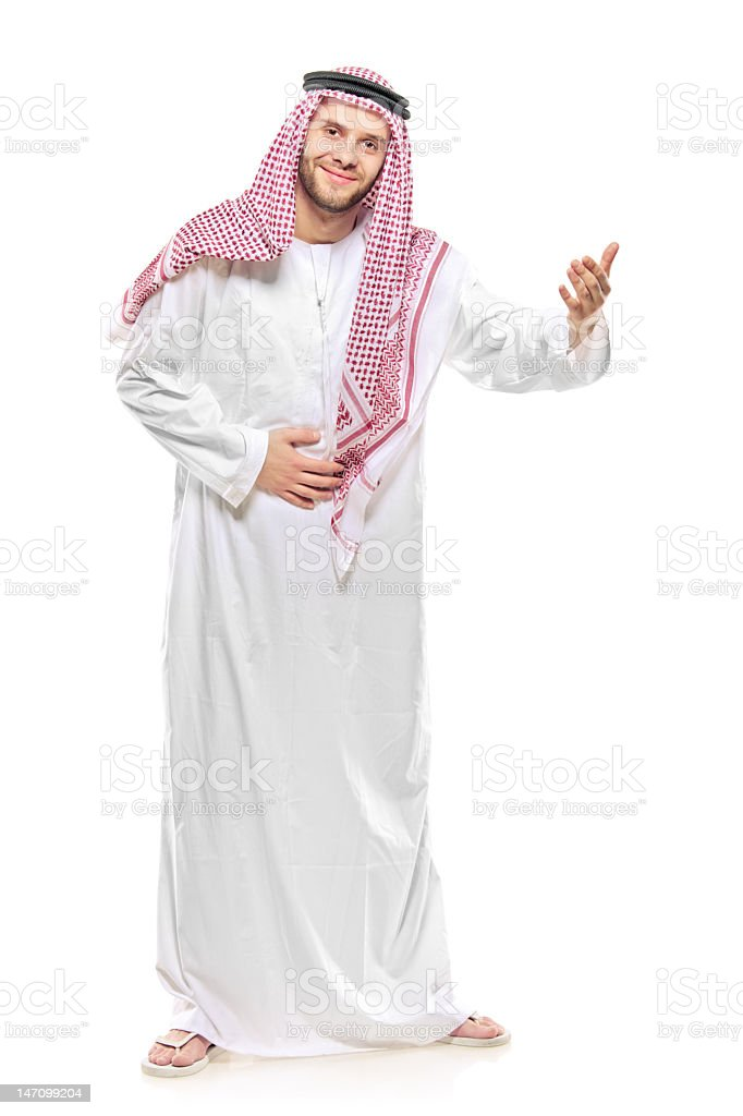 Arab person welcoming royalty-free stock photo