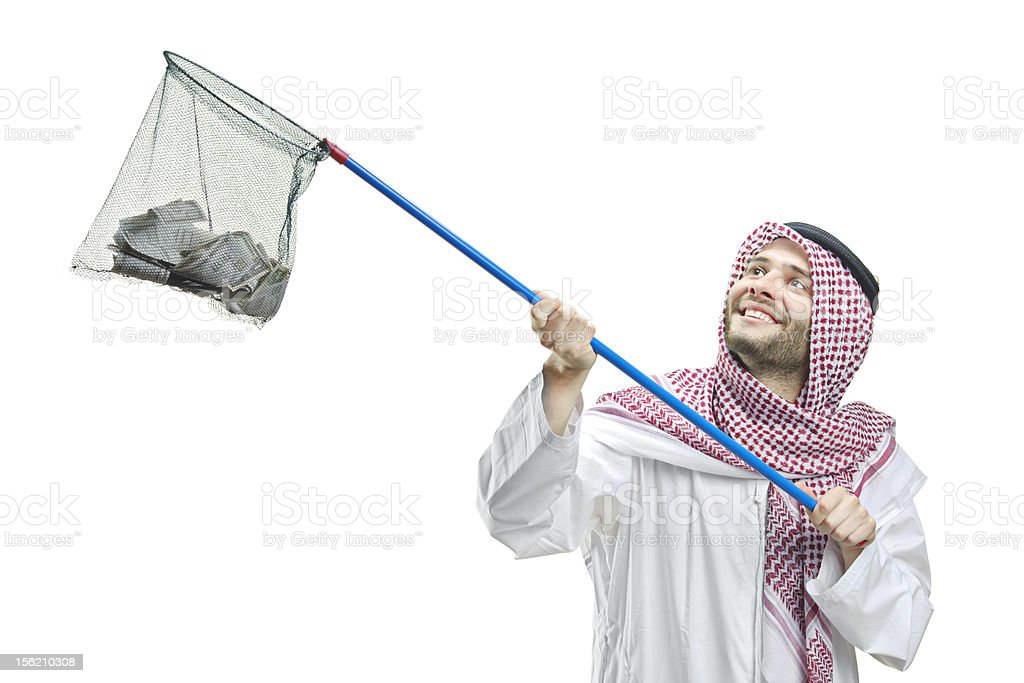 Arab person with a fishing net royalty-free stock photo