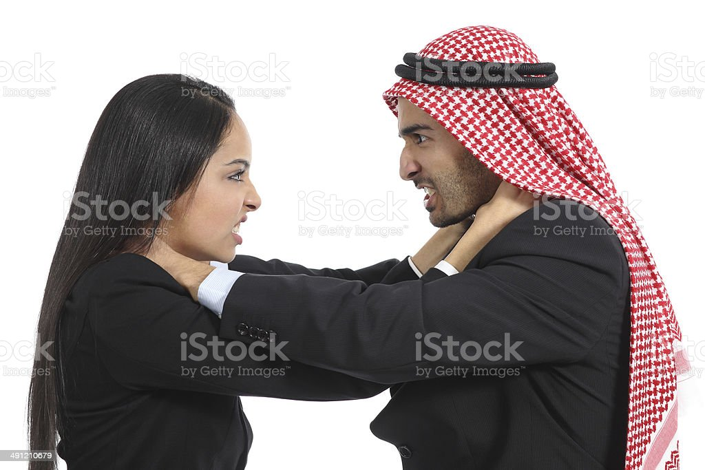 Arab saudi business man and woman competition stock photo