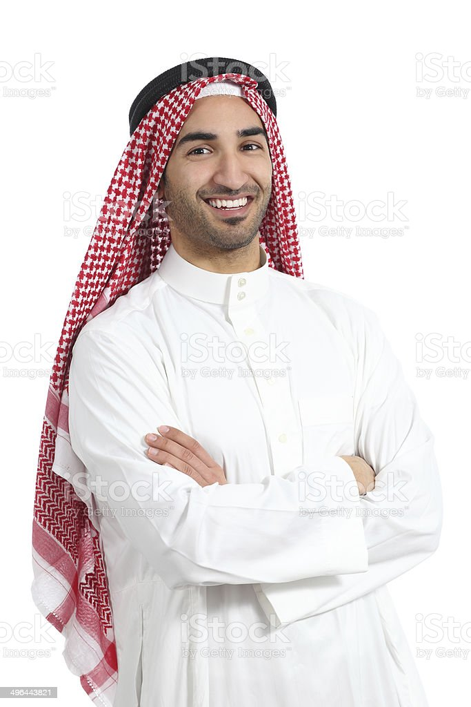Arab saudi emirates man posing with folded arms stock photo