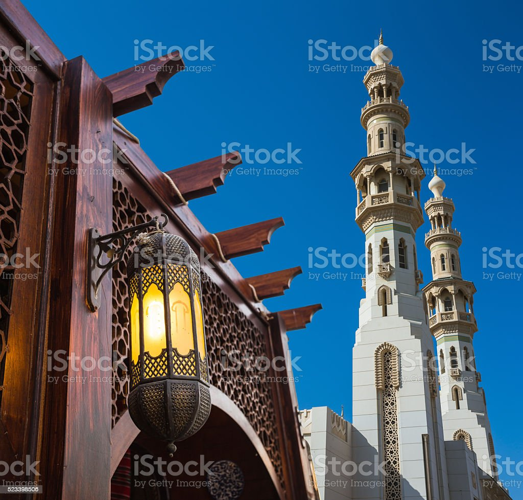 Arab street lanterns in the city of Dubai stock photo