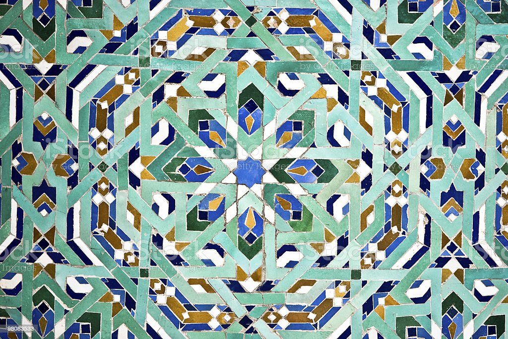 Arab tiles mosaic texture background pattern stock photo - Table mosaique rectangulaire ...