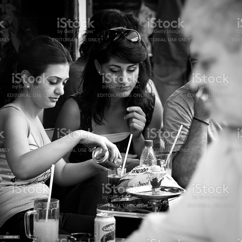 Arab women at cafe in Damascus, Syria stock photo