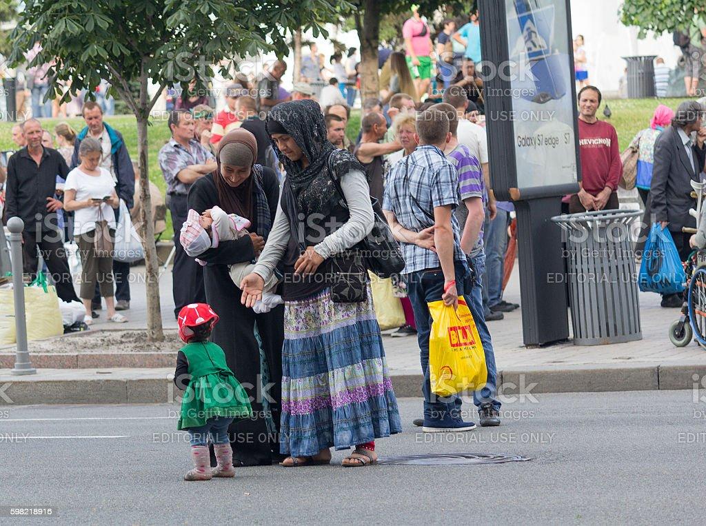 Arab women with children. Kiev, Ukraine stock photo